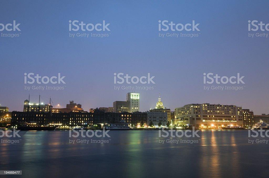 City of Savannah at Night stock photo