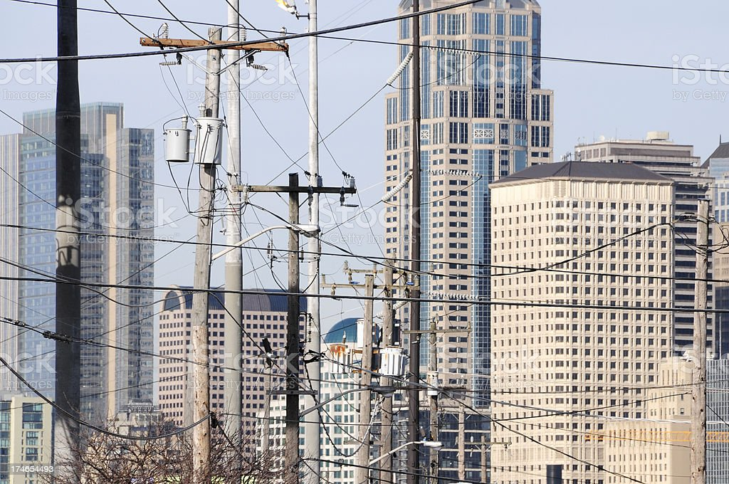 City of Seattle through power lines royalty-free stock photo