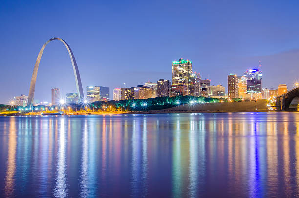 City of St. Louis skyline. Image of St. Louis downtown stock photo