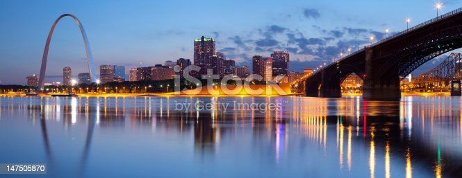 Panoramic image of St. Louis downtown with Gateway Arch at twilight. This is composite of two horizontal images stitched together in photoshop.