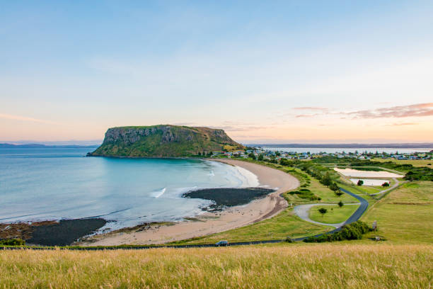City of Stanley and green landscape and blue sea in Tasmania, Australia stock photo