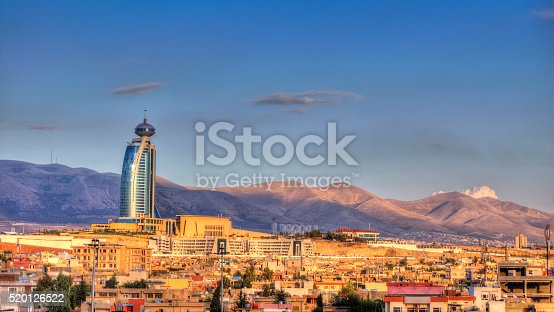 Tone mapped HDR image of Sulaymaniyah (capital city of Sulaymaniyah Governorate) at sunset.