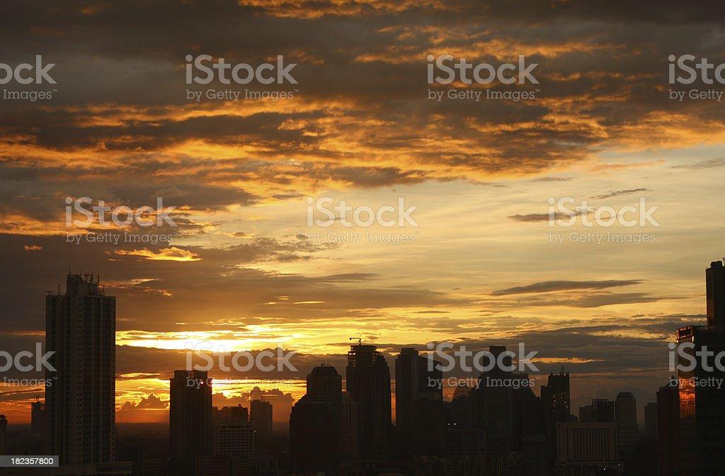 city of sunset royalty-free stock photo