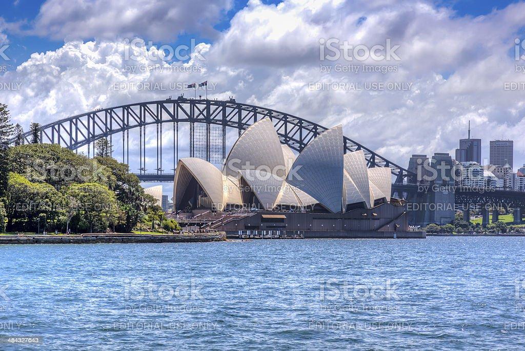 City of Sydney Opera House and Harbour Bridge at Daytime stock photo