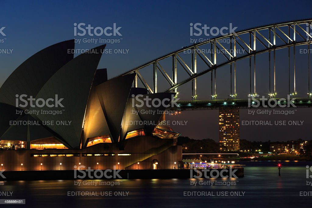 City of Sydney Opera House and Harbour Bridge at Dusk royalty-free stock photo