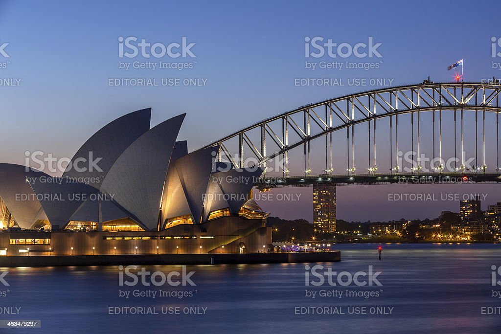 City of Sydney Opera House and Harbour Bridge at Dusk stock photo