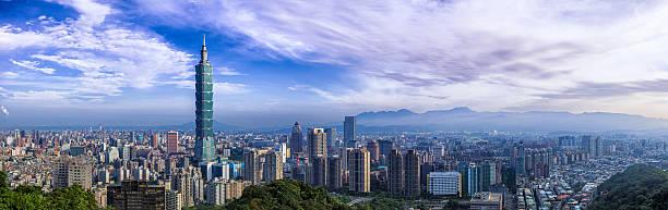 stadt taipei panorama - insel taiwan stock-fotos und bilder