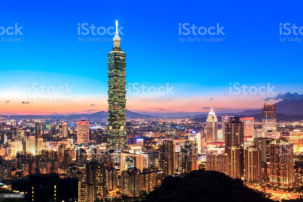 City of Taipei skyline at night stock photo