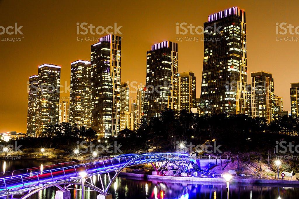 City of the Future Songdo South Korea in night stock photo