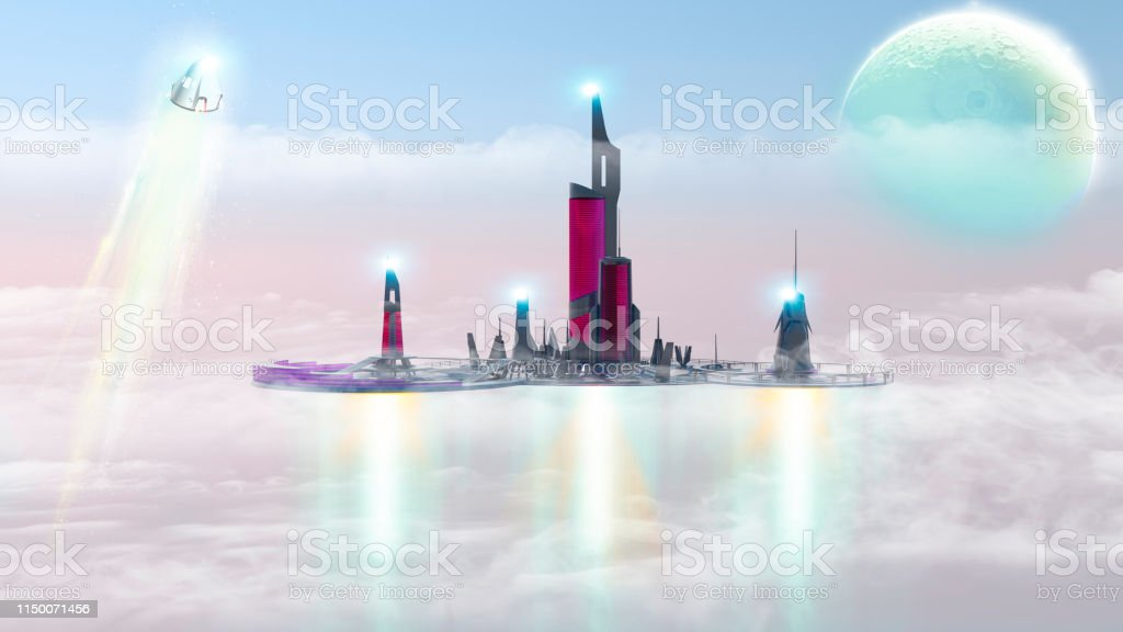 City of the future, urban landscape in the clouds, extraterrestrial...