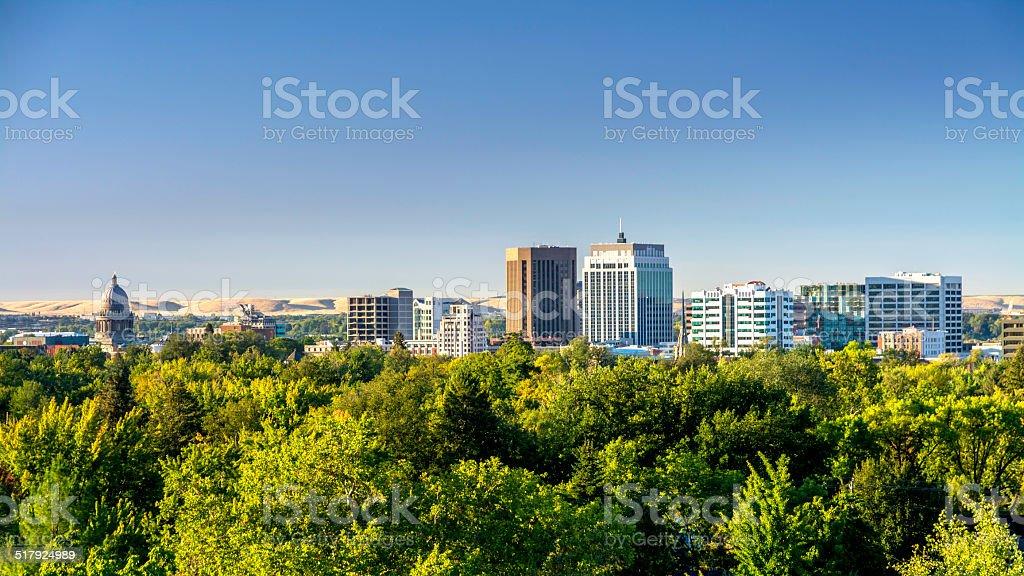 City of trees Boise Idaho with Capital building and skyline stock photo