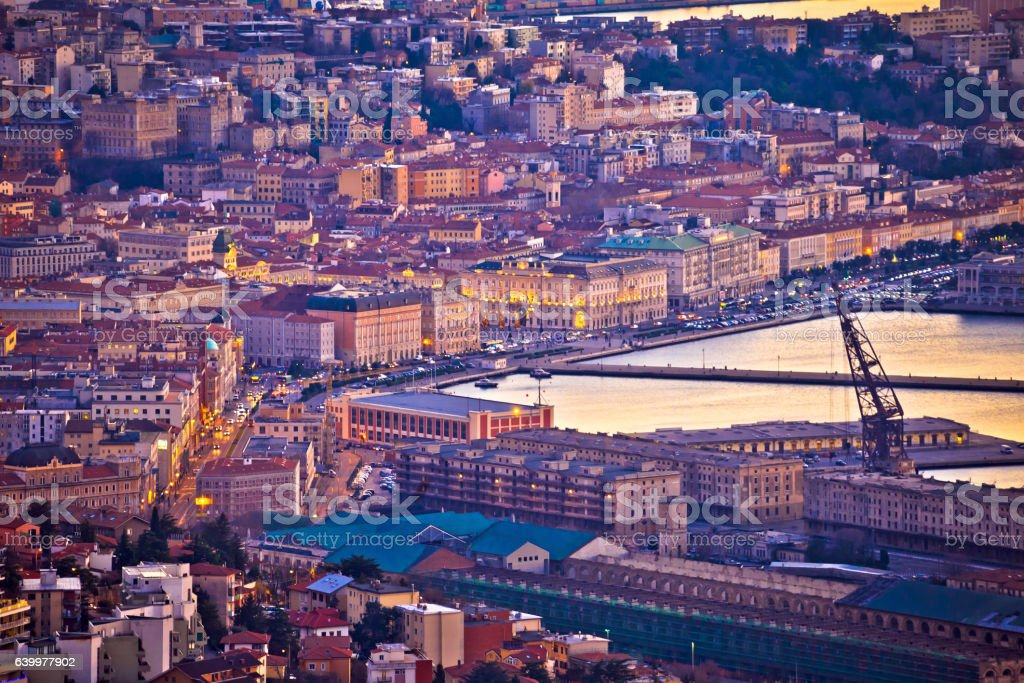 City of Trieste waterfront evening view stock photo