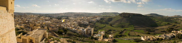 City of Victoria (Rabat) at sunset from atop Gozo Citadel stock photo