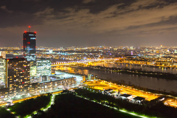 City of Vienna at Night stock photo