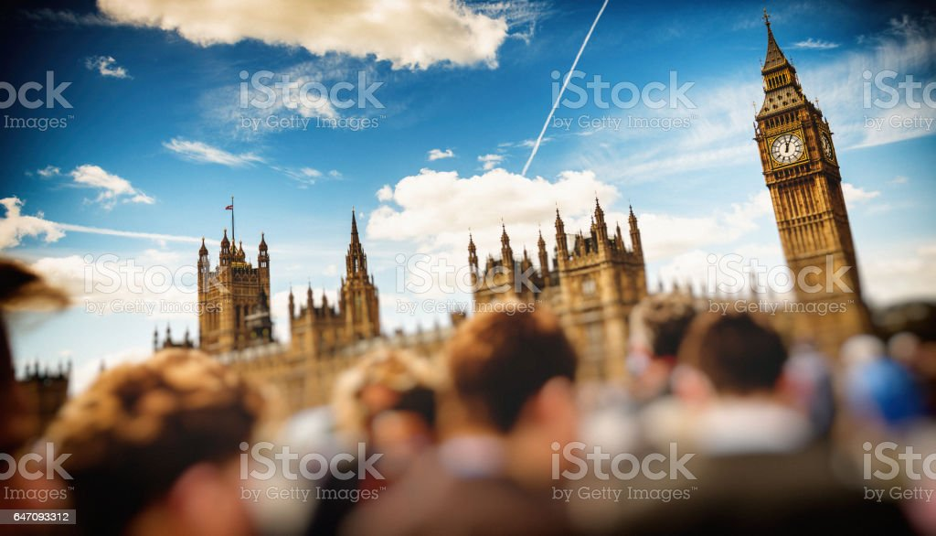 city of westminster in london full of people stock photo