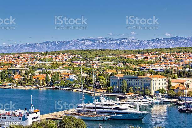 City of Zadar harbor and Velebit mountain City of Zadar harbor and Velebit mountain, Dalmatia, Croatia Adriatic Sea Stock Photo
