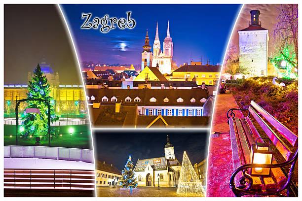 city of zagreb advent evening postcard - adventgeschichte stock-fotos und bilder