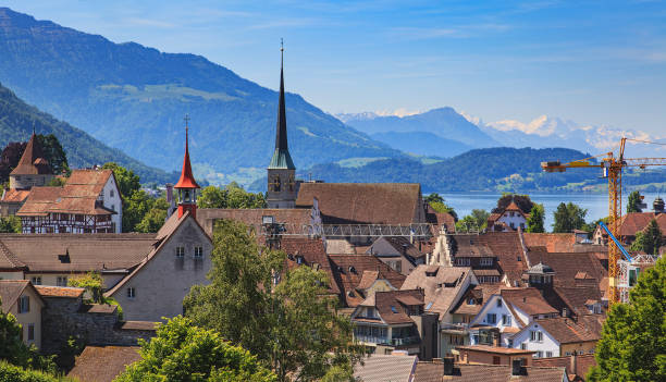 City of Zug in Switzerland View of the city of Zug in Switzerland in summertime. zug stock pictures, royalty-free photos & images