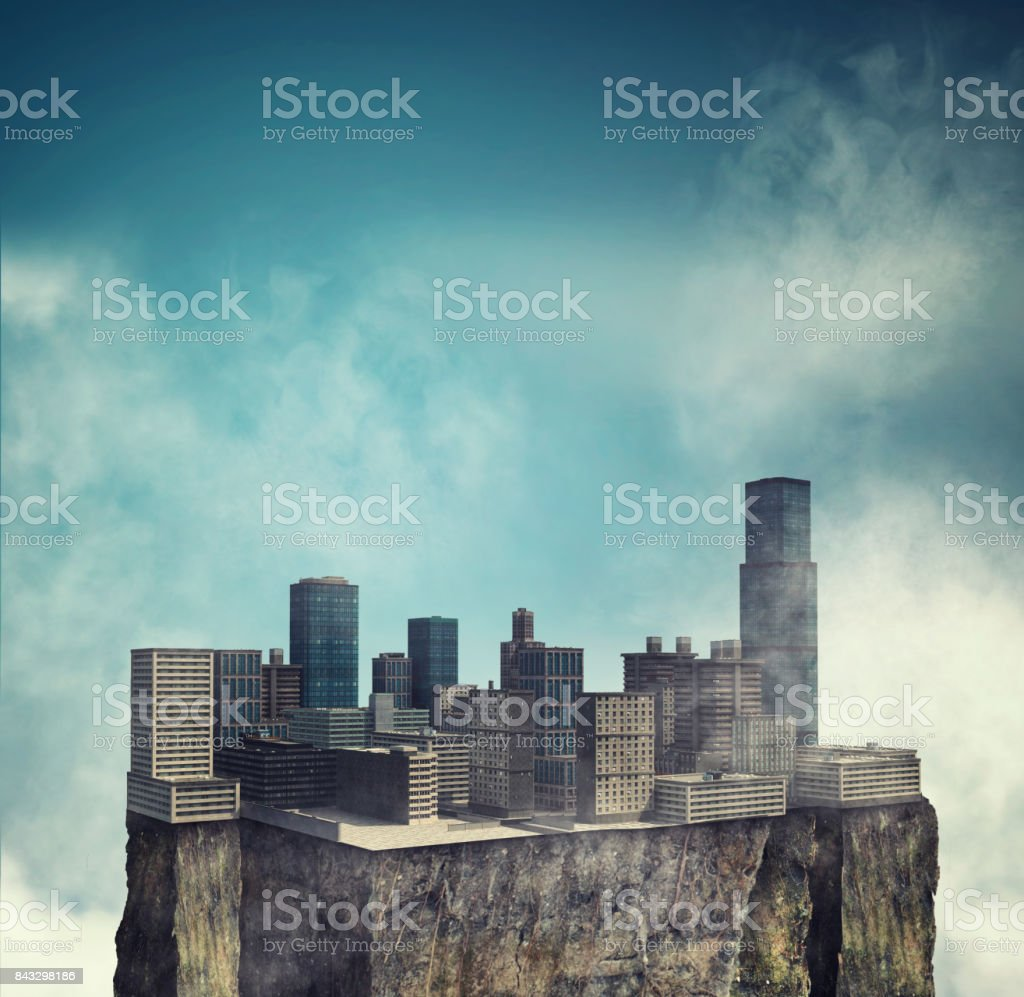 City on cube of earth in the sky stock photo