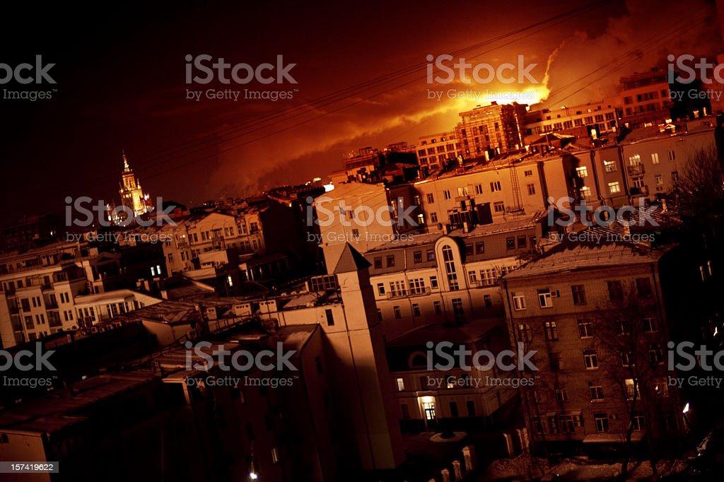 City on fire stock photo