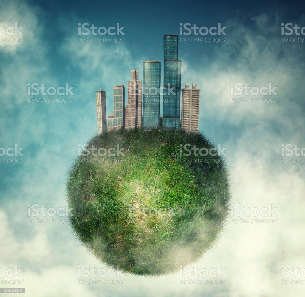 City on green globe of earth stock photo