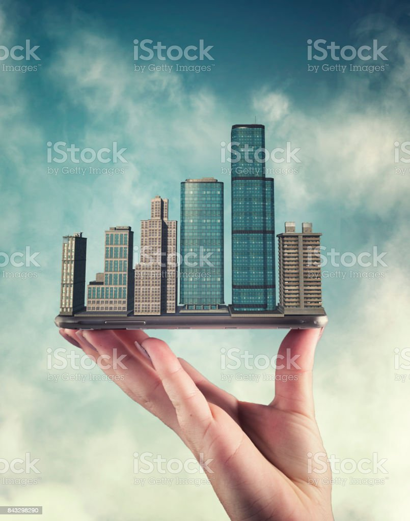 City on smartphone  in the sky stock photo