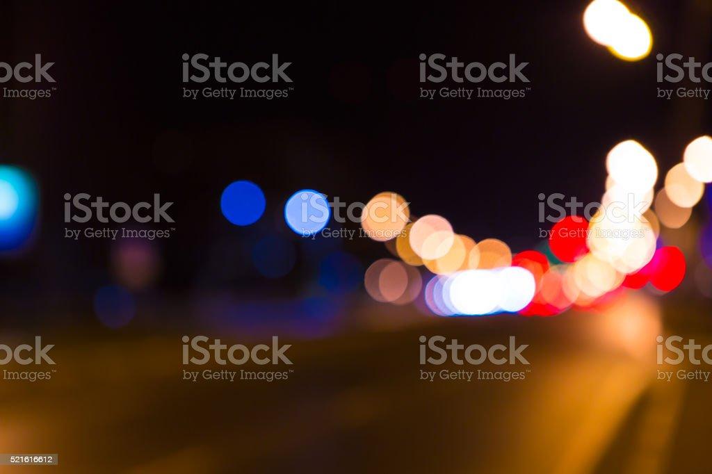 Stadt zu konzentrieren. Nacht straße bei Nacht Lichter. – Foto