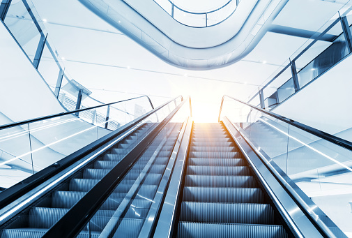 City outdoor escalator under the sun of chongqing,china