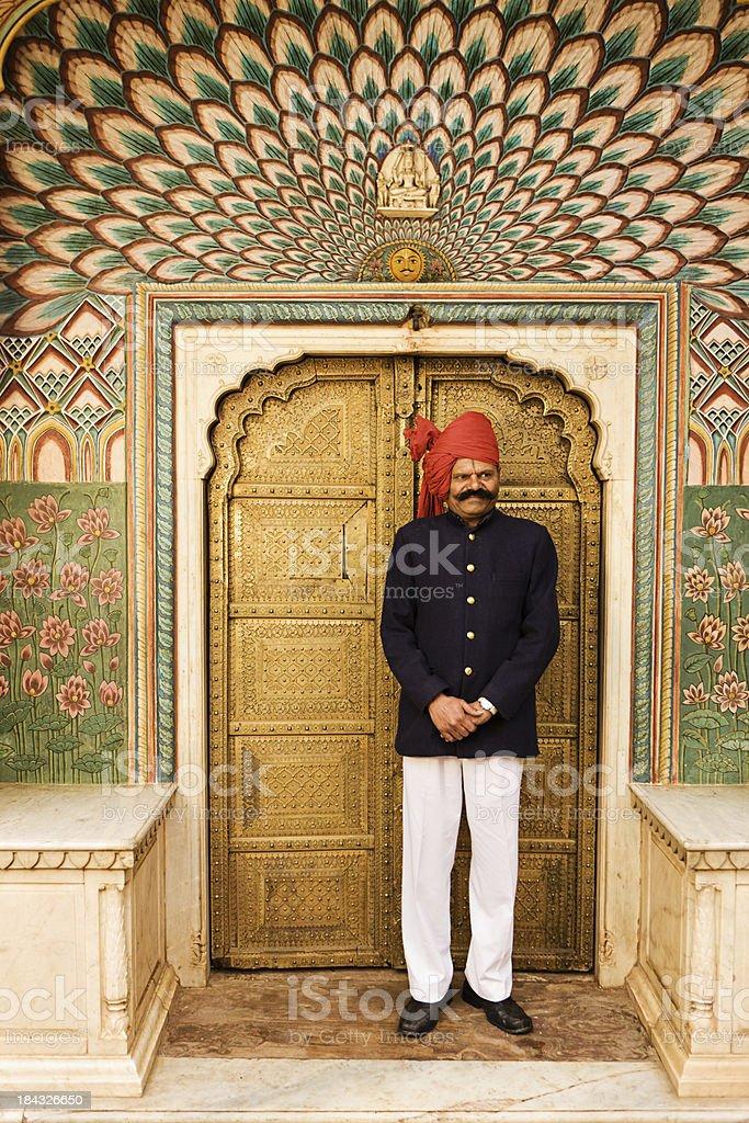 City Palace guard. Jaipur. India stock photo
