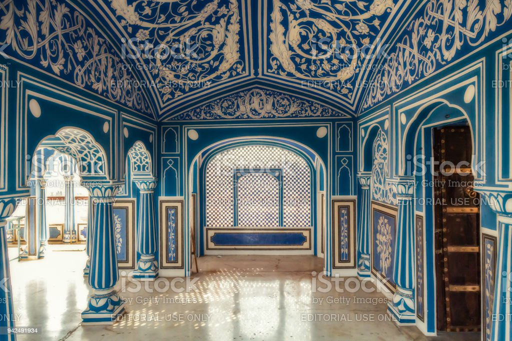 City Palace Jaipur Rajasthan Hallway With Interior Artwork And Decorative  Wall Art Paintings. Royalty