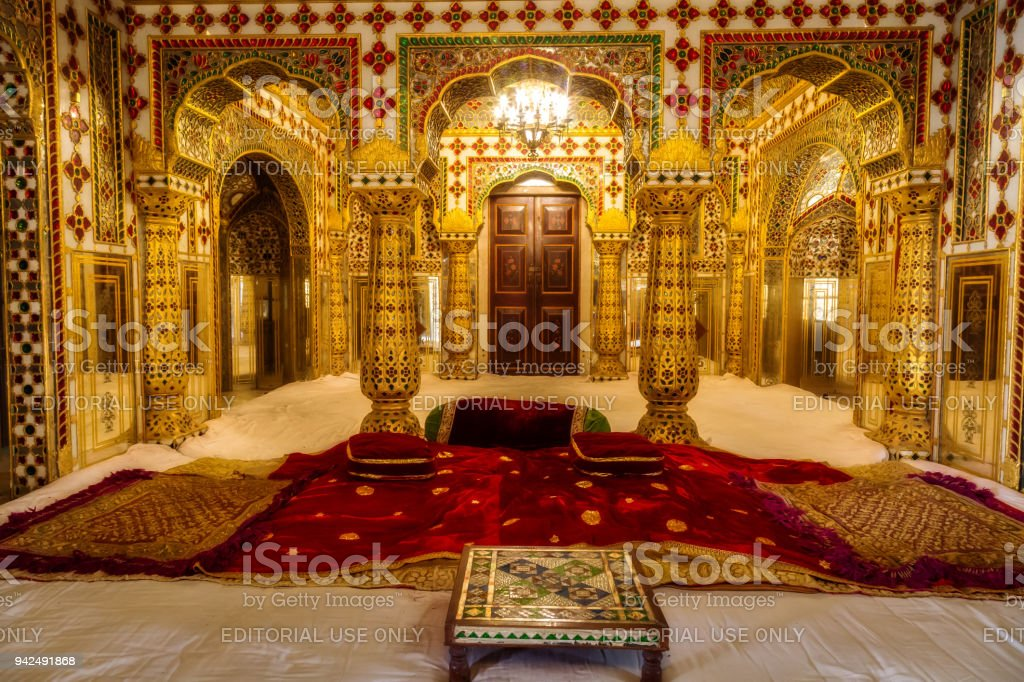 City Palace Jaipur Rajasthan Royal Palace Interior Decoration With Gold And  Precious Gems Artwork. Royalty