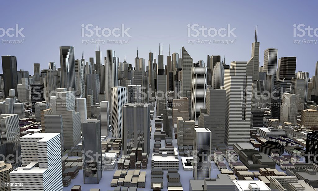 3D City Panorama Skyline NYC Skyscrapers stock photo