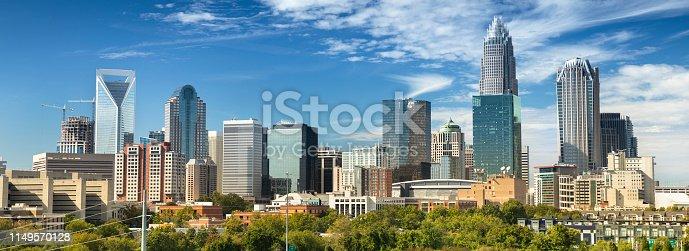Cityscape view of Charlotte North Carolina in Mecklenburg County, USA