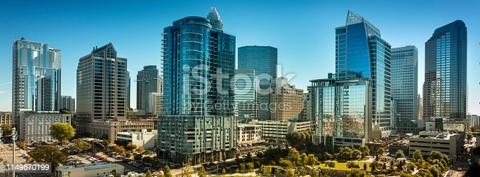 Cityscape view of Charlotte North Carolina and Romare Bearden Park in Mecklenburg County, USA