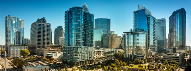 City panorama skyline of downtown Charlotte North Carolina USA stock photo