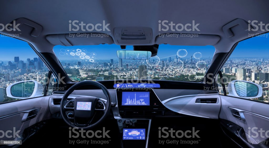 vue panoramique de ville à la recherche de la forme wagon vide cockpit, de divers écrans et heads-up displays - Photo