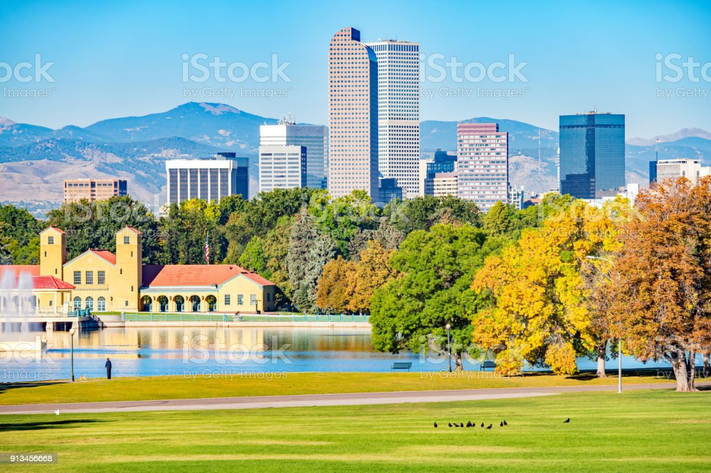 City Park and skyline in Denver Colorado USA stock photo