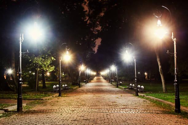 街の公園の夜 - 街灯 ストックフォトと画像