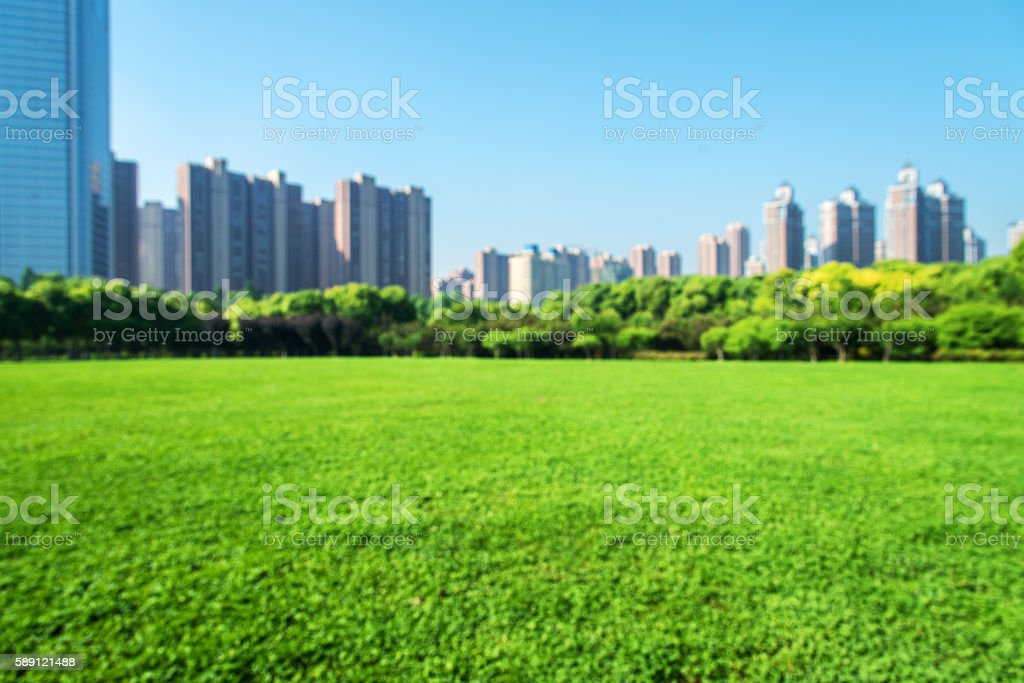 City park defocused blurred abstract background stock photo