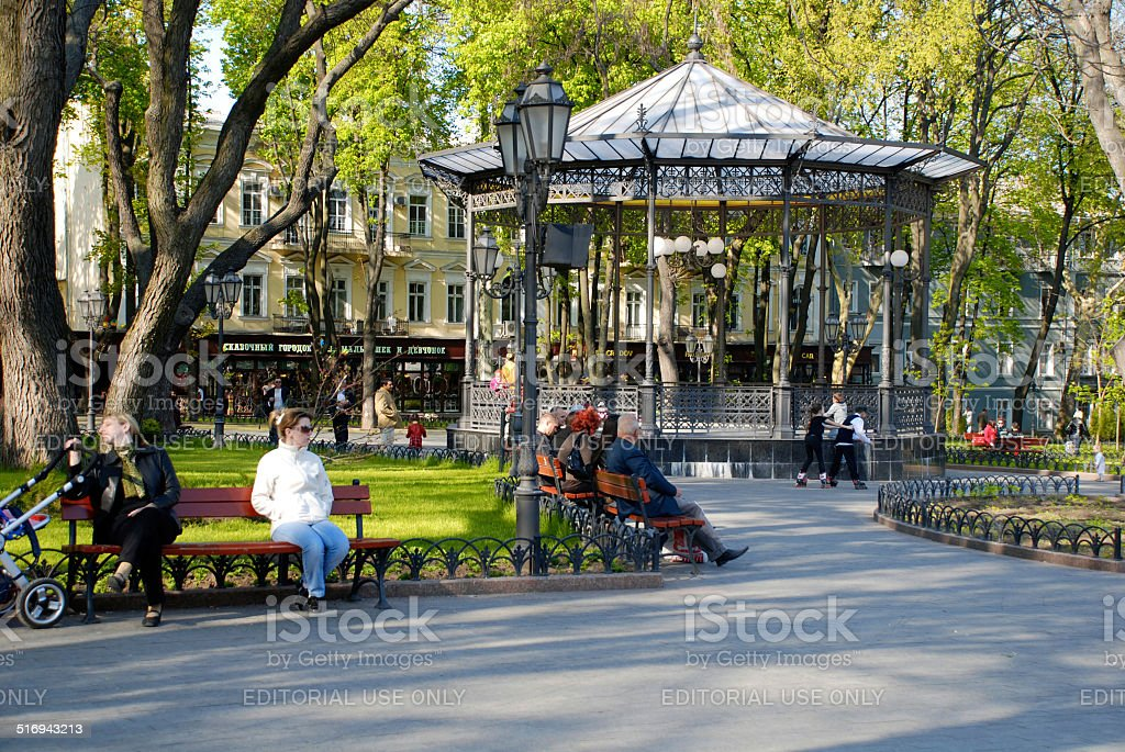 city park in Odessa, Ukraine stock photo