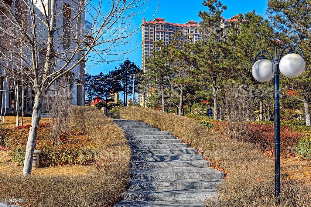 City park in Qinhuangdao stock photo