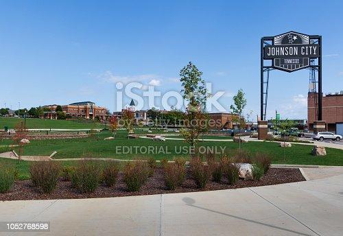 Johnson City, TN, USA-9/30/18: An open grassy park called