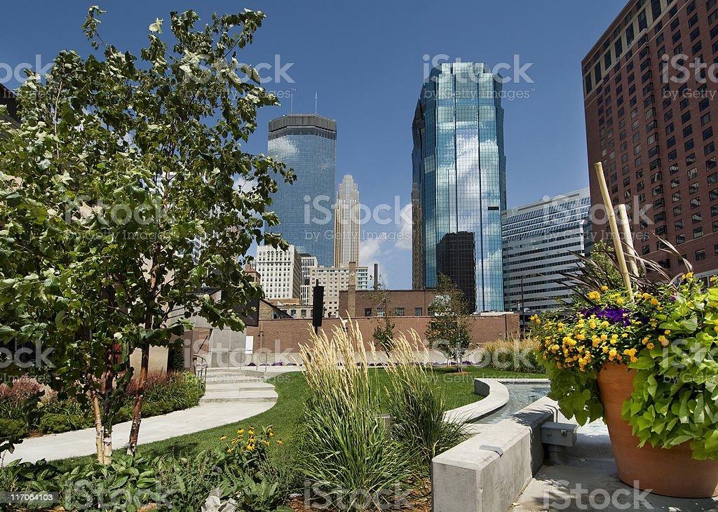 City park view of Minneapolis, Minnesota stock photo