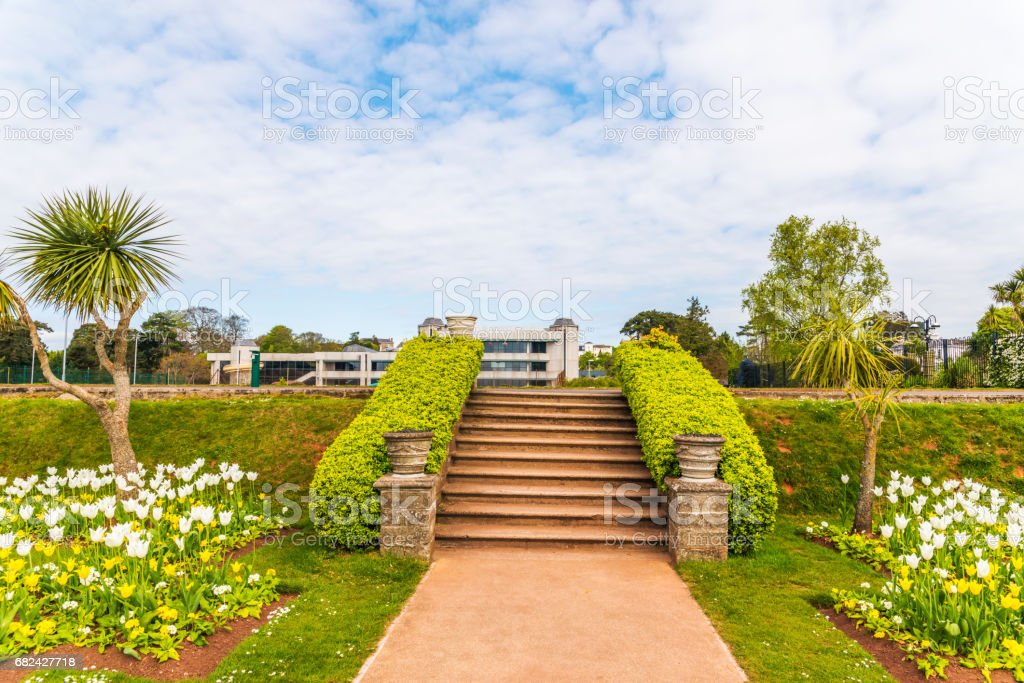 City park with exotic trees and lots of color flowers, a wonderful resting place, alley among trees and flowers royalty-free stock photo