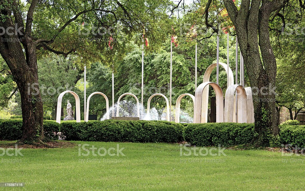 City Park with fountains,flags and architectural statues stock photo