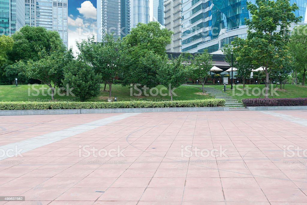 city park with modern building background in shanghai stock photo