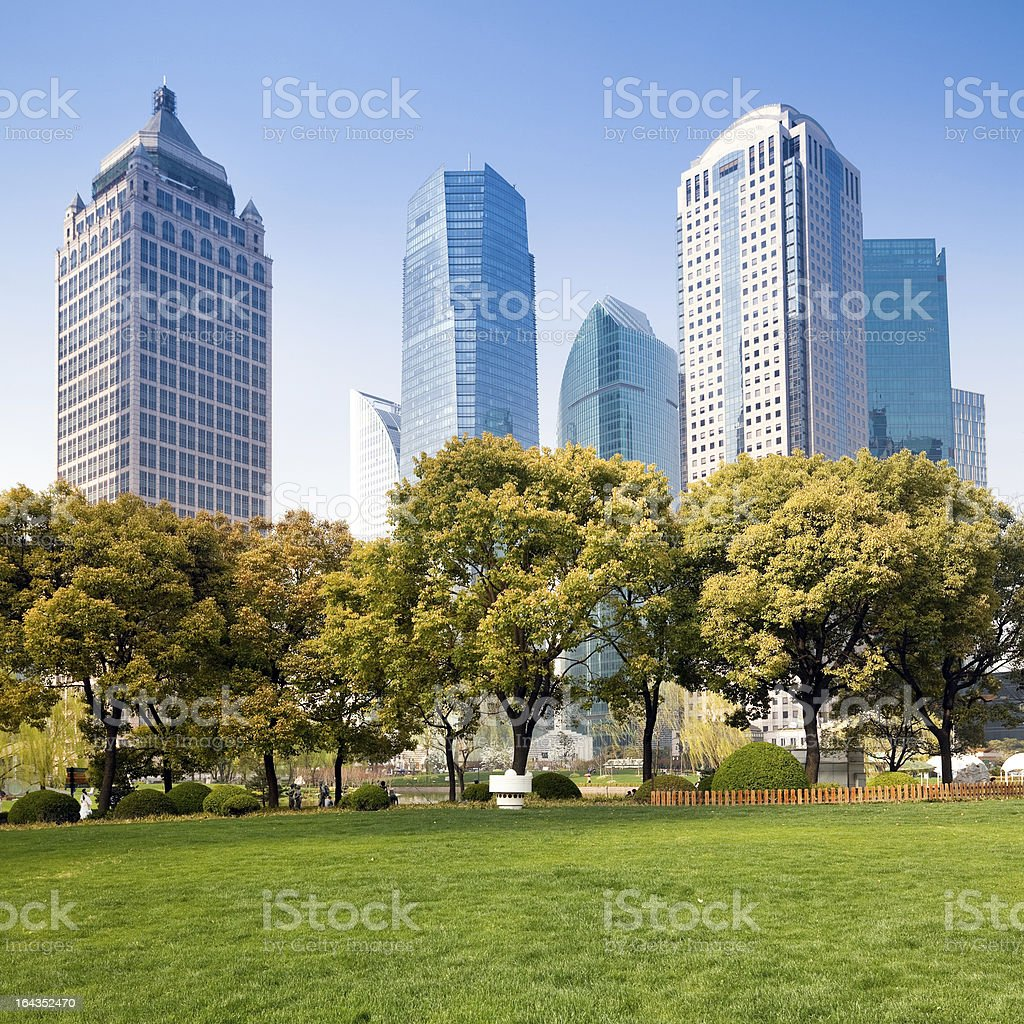 city park with modern building background royalty-free stock photo