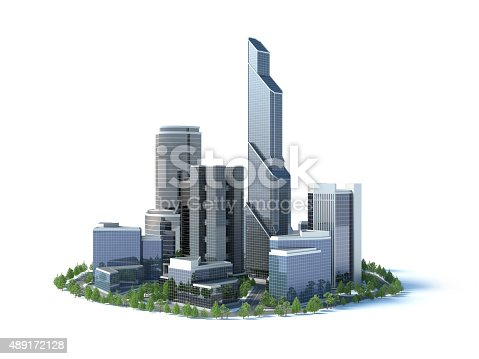 group of 3d skyscapers on white background