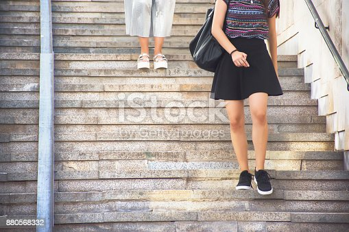 People on staircase