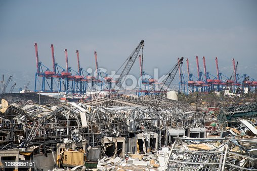 istock City Port Destruction after Big Blast 1266885151